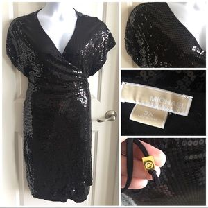 Michael Kors Sequin Wrap Dress Plus